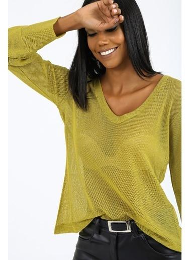 Emjey Simli V Yaka Bluz Yeşil